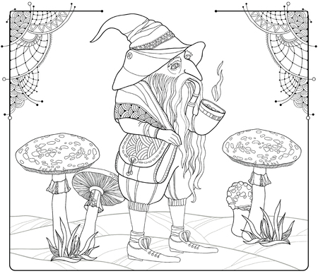 mythological character: Vector mythological line drawing Gnome or Dwarf with tobacco pipe isolated on the background with. Folklore character. Gnome in contour style for coloring book. Series of mythological creatures. Illustration