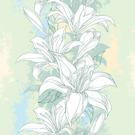 white lily: Seamless pattern with ornate white Lily flower, buds and leaves on the textured pastel background. Elegance floral background with lilies in contour style for summer design.