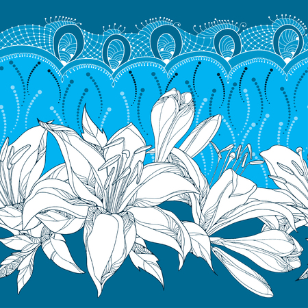 frill: Seamless pattern with ornate Lily flower in white, buds, leaves and decorative white lace on the blue background. Floral background with lilies and frill in contour style for summer design.