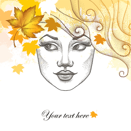 autumn woman: Vector illustration of dotted beautiful girl face with maple leaves on the textured pastel background. Autumn background in dotwork style. Concept of autumn with woman face and falling maple leaves.
