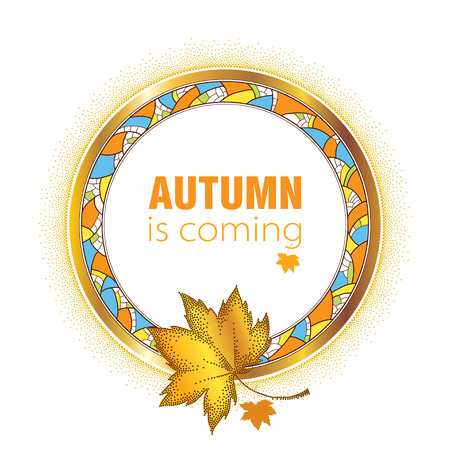 rim: Round decorative frame with golden rim, detailed mosaic and dotted maple leaves isolated on white background. Vector autumn elements for September design. Concept of Autumn is coming in dotwork style.