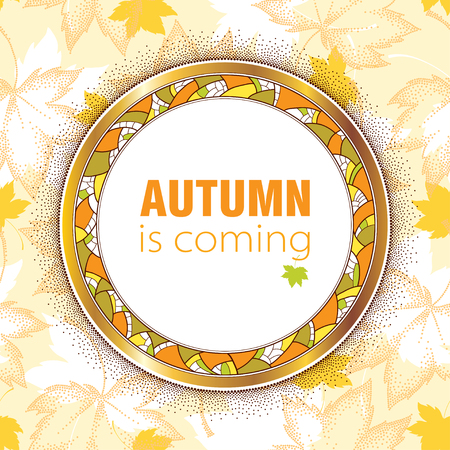 rim: Round decorative frame with golden rim and decorative mosaic on dotted maple leaves background in pastel. Vector autumn elements for September design. Concept of Autumn is coming in dotwork style.