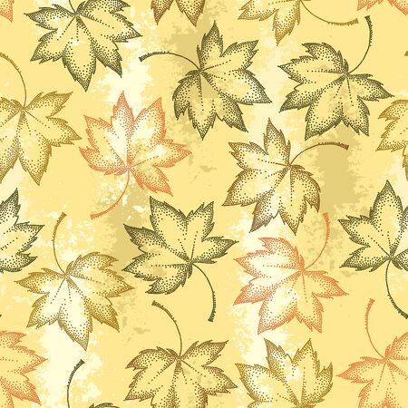 pointillism: Vector seamless pattern with dotted maple leaves on the pastel beige background. Autumn elements in dotwork style. Abstract autumn background with decorative falling maple leaves for September design