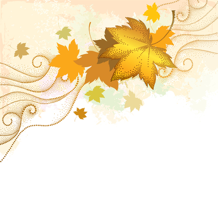 Abstract autumn background with dotted maple leaves and dotted swirls on the textured beige backdrop. Vector autumn elements in dotwork style. Composition with falling maple leaves for October design. Illustration