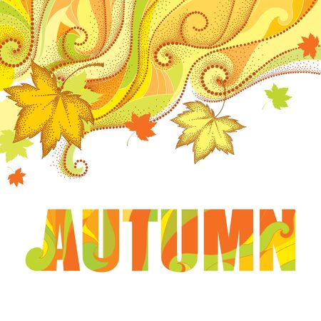 Abstract autumn background with dotted maple leaves, dotted swirls, waves and the word Autumn isolated on white. Vector autumn elements in dotwork style for design. Concept with falling maple leaves. Illustration