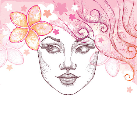 frangipani flower: Vector illustration of dotted beautiful girl face with Plumeria or Frangipani flower in hair. Summer background in dotwork style. Concept of summertime with dotted woman face and tropical flowers.