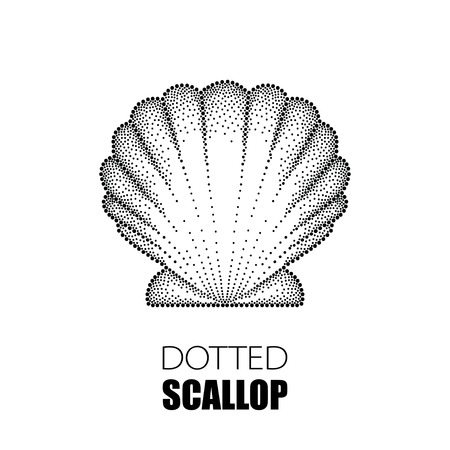 scallop: Vector illustration of dotted Sea shell or Scallop in black isolated on white. Maritime theme with dotted seashell for summer design. Marine and nautical elements in dotwork style.
