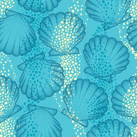 vector sin patrón con la cáscara del mar de puntos o de concha de peregrino en el fondo azul. Marítimo. Marina y tema acuático. concha de puntos para el diseño de verano. fondo de verano brillante en estilo dotwork.