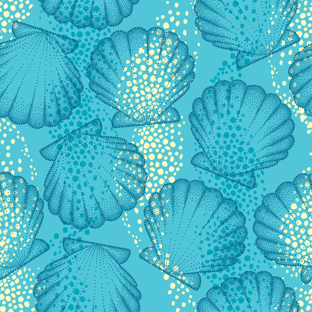 Vector seamless pattern with dotted Sea shell or Scallop on the blue background. Maritime. Marine and aquatic theme. Dotted seashell for summer design. Bright summer background in dotwork style.