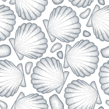 pebbles: Vector seamless pattern with dotted Sea shell or Scallop in black and pebbles on the white. Marine and aquatic theme. Dotted seashell for summer design. Monochrome summer background in dotwork style Illustration