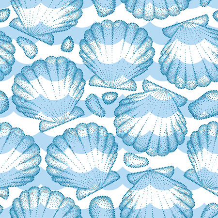 scallop: Vector seamless pattern with dotted Sea shell or Scallop in blue, pebbles and waves. Marine and aquatic theme. Dotted blue seashell for summer design. Nautical summer background in dotwork style.