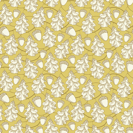 Vector seamless pattern with ornate oak leaves, branches and acorns on the beige background. Floral elements in contour style. Autumn background with outline oak leaf and acorns for September design.