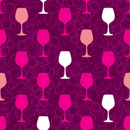 tendrils: Vector seamless pattern with colorful silhouette of wineglass, outline bunch of grape and grape leaves. Decor for wine and winery. Background with ornate wine elements in contour for summer design.