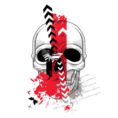 Vector illustration with dotted skull, abstract arrows, butterflies and blots in red and black isolated on white. Sketch for tattoo in trendy Trash Polka and dotwork style. Creative design for tattoo. Illustration