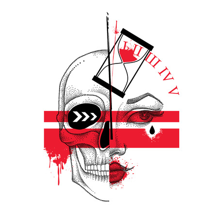 Vector illustration with dotted half woman face and skull, abstract lines, hourglass and blots in red and black isolated. Sketch for tattoo in Trash Polka and dotwork style. Creative design for tattoo Иллюстрация