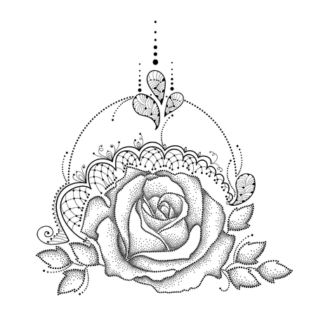frill: Vector illustration with dotted Rose flower in black, leaves, decorative ornate lace and swirls isolated on white background. Floral elements in dotwork and contour style for tattoo design. Illustration