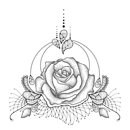 black: Vector illustration with dotted Rose flower in black, leaves, decorative ornate lace and swirls isolated on white background. Floral elements in dotwork and contour style for tattoo design. Illustration
