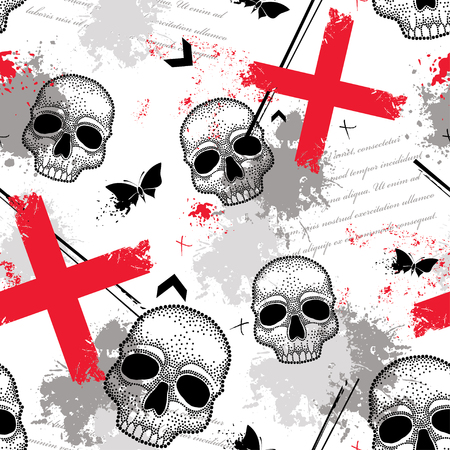 Vector seamless pattern with dotted skull, abstract lines, crosses, butterflies and blots in red and black on the white background. Abstract creative background in Trash Polka and dotwork style.