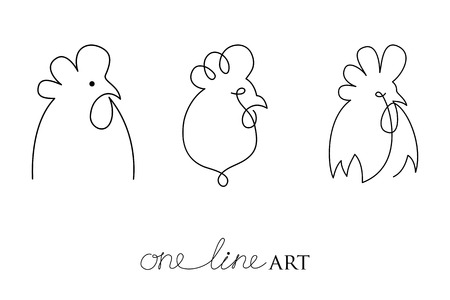 one animal: Vector set with rooster or cock head profile in black isolated on white background. Silhouette of cockerel in minimalism or one line art style. Primitive art for stylized tattoo and simple decor.