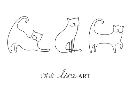 Vector set with cat silhouette in black isolated on white background. Cats in minimalism or one line art style. Primitive art for stylized tattoo and simple decor. Vettoriali