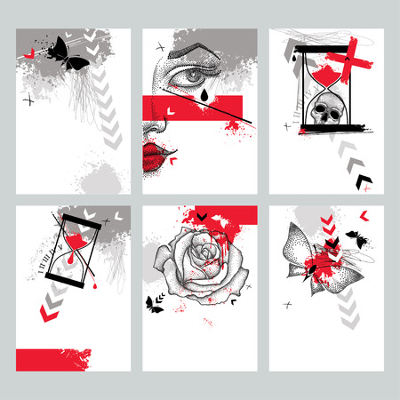 Vector set with design templates in Trash Polka and dotwork style. Dotted skull, cross, abstract arrows, rose, butterfly, blots, lines, hourglass in red and black colors. Creative print illustrations.  イラスト・ベクター素材