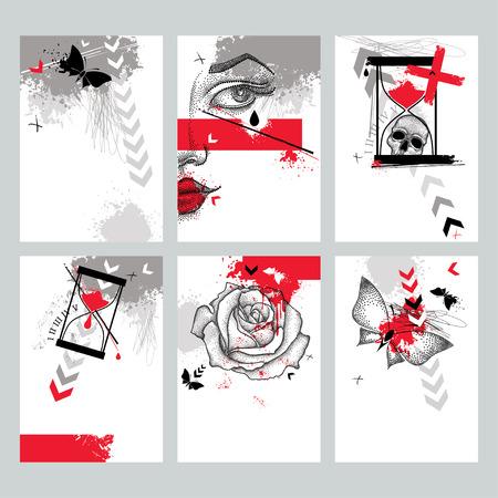 Vector mit Design-Vorlagen in Trash Polka und dotwork Stil. Gepunktete Schädel, Kreuz, abstrakte Pfeile, Rose, Schmetterling, Flecken, Linien, Sanduhr in roten und schwarzen Farben. Kreativdruck Abbildungen. Vektorgrafik