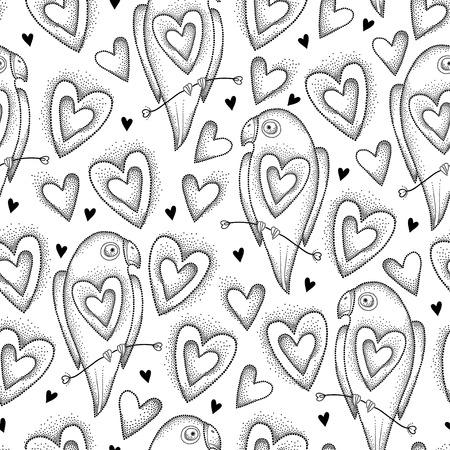 黒の点線オウムと白い背景の上の心ベクトルのシームレスなパターン。デザイン要素と dotwork スタイルの休日の記号。ロマンチックな背景にオウム  イラスト・ベクター素材