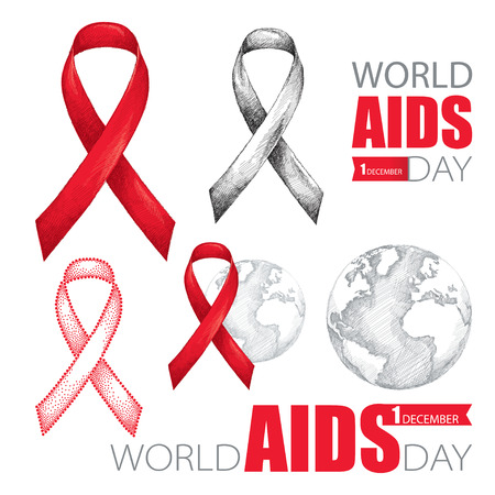aids virus: Vector design set with earth planet, red ribbon and text isolated on white background. AIDS Awareness symbols in sketch style. Collection templates for AIDS day 1 December with world map and ribbon.