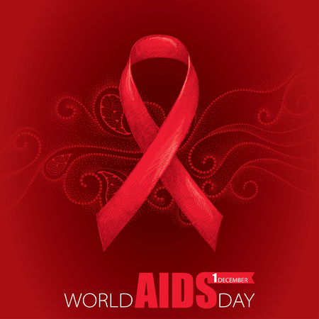 aids awareness ribbon: Vector background with red ribbon and dotted curly swirls. AIDS Awareness symbol in line art style. Elegance design for world AIDS day 1 December with sketch ribbon and curls.