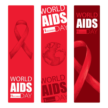 immunodeficiency syndrome: Vector design set with vertical banner with red ribbon and earth planet. AIDS Awareness symbols in sketch and line art style. Collection templates for AIDS day 1 December with ribbons and world map. Illustration