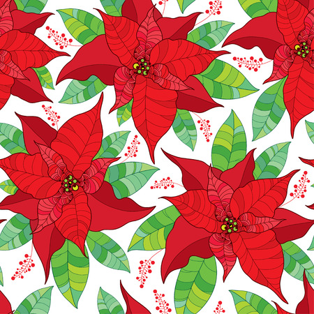 Vector seamless pattern with contour Poinsettia flower or Christmas Star in red and green leaves on the white background. Ornate flowers for traditional Christmas design. Outline floral artwork. Illustration