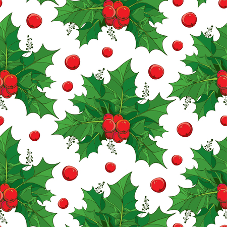 ilex: Vector seamless pattern with outline green leaves and red berries of Ilex or European Holly on the white background. Traditional Christmas and Happy New Year symbol in contour style for winter design.
