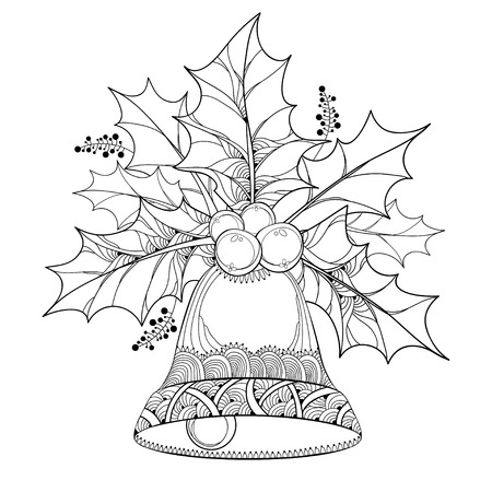 Vector branch with outline leaves and berries of Ilex or Holly berry and ornate bell isolated on white background. Traditional Christmas symbol in contour style for winter design and coloring book.