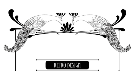 peafowl: Vector illustration of hand drawn vintage peacock with lines isolated on white background. Horizontal vignette in Art Nouveau or Modern style for decoration. Retro design with bird in line art decor. Illustration
