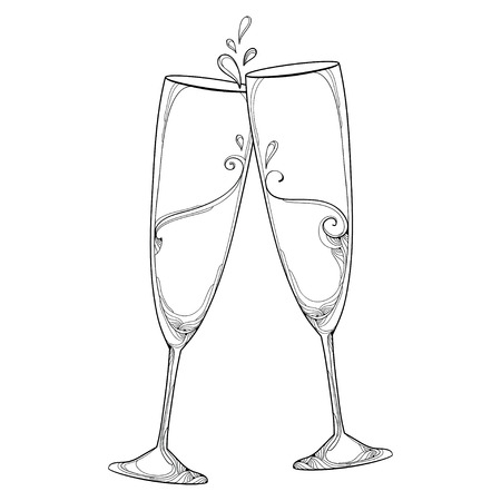 toasting wine: illustration with two contour champagne glasses or flute in black isolated on white background. Outline glass for wine and winery in linear style for holiday design and coloring book.