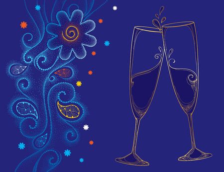 champagne flute: illustration with two contour champagne glasses or flute in gold on the blue background with dotted swirls and snowflakes. Decor in dotwork style for holiday winter design and New Year theme.