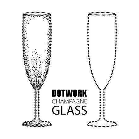 champagne flute: illustration with dotted champagne glass or flute in black isolated on white background. Transparent champagne glass for wine, winery and restaurant design in dotwork style.