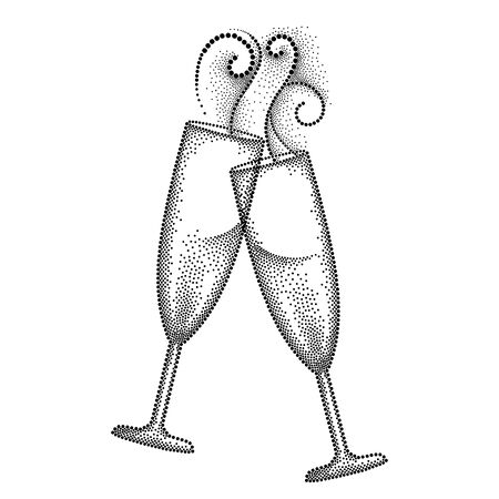 illustration with two dotted clink champagne glass or flute in black isolated on white background. Champagne glass and swirls in dotwork style for restaurant and celebration design. Illustration