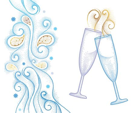 toasting wine: illustration with two dotted champagne glass or flute isolated on white background with abstract blue swirls and snowflakes. Decor in dotwork style for holiday winter design and New Year theme.
