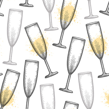 champagne flute: seamless pattern with dotted champagne glass or flute in black and blots on the white background. Pattern in dotwork style with champagne glass for restaurant and celebration design.