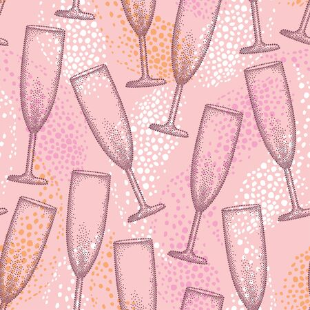 seamless pattern with dotted champagne glass or flute and drop on the pink background. Pattern in dotwork style with champagne glass for restaurant and celebration design.  イラスト・ベクター素材