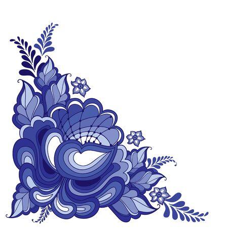 illustratie met hoek bloemenmotief in traditionele Russische stijl Gzhel geïsoleerd op wit. Sierlijke bloemen en bladeren in blauw en wit. Bloemen elementen in Gzhel schilderij voor folk ambachtelijke ontwerp Vector Illustratie