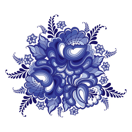 illustration with round floral motif in traditional Russian style Gzhel isolated on white. Ornate flowers and leaves in blue and white. Floral elements in Gzhel painting for folk craft design Illustration