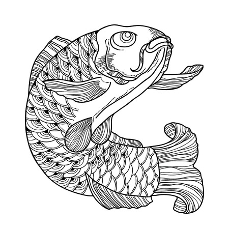 koi: illustration with drawn outline black koi carp isolated on white background. Japanese ornate fish in contour style for coloring book. Marine elements in line art for tattoo. Illustration