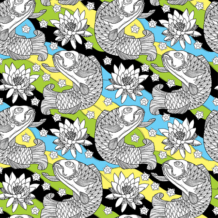 koi: seamless pattern with outline koi carp and lotus or water lily on the background in black, yellow, green and blue. Marine background with Japanese ornate fish and flower in contour style.