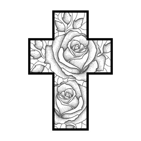 dibujo de cruz latina con punteado rosa flores y hojas aislado en negro sobre fondo blanco. Ilustración de la geometría simbólica y elementos florales en estilo dotwork para el diseño del tatuaje.