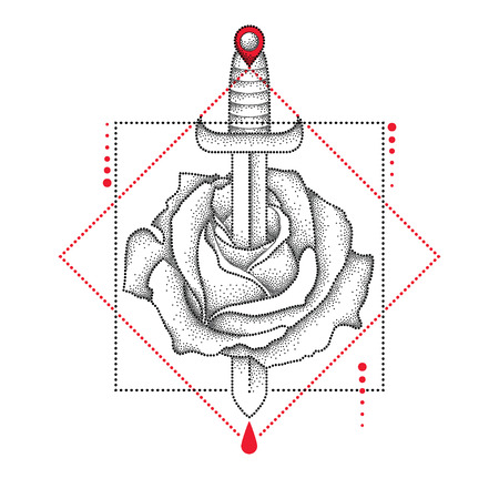 gripping: drawing of dotted rose flower, knife, drop and geometric form in black and red isolated on white background. Symbolic geometry and floral elements in dotwork style for tattoo design.