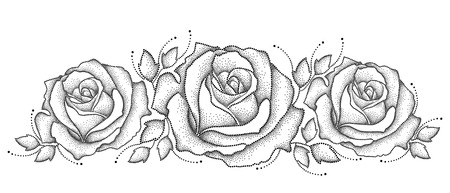 illustration with three dotted rose flower and leaves in black isolated on white background. Floral elements with open rose in dotwork style for elegance design. Horizontal composition.