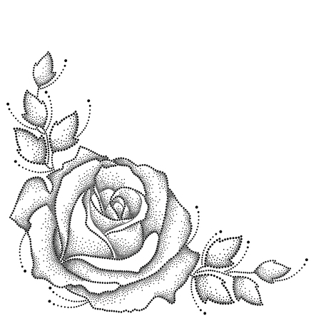 rose tattoo: illustration with one dotted rose flower and leaves in black isolated on white background. Floral elements with open rose in dotwork style for elegance tattoo design. Corner composition.
