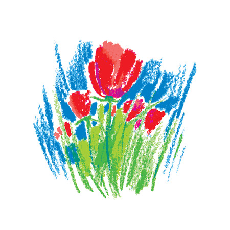 childlike: illustration oil pastel childlike stylized red flowers isolated on white background. Colorful floral drawing in sketch style. drawn art element for summer design and simple decor. Illustration